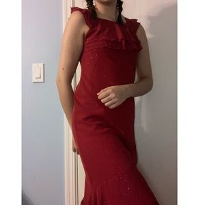 NWT Red Sparkly Asymmetrical Dress NEVER WORN